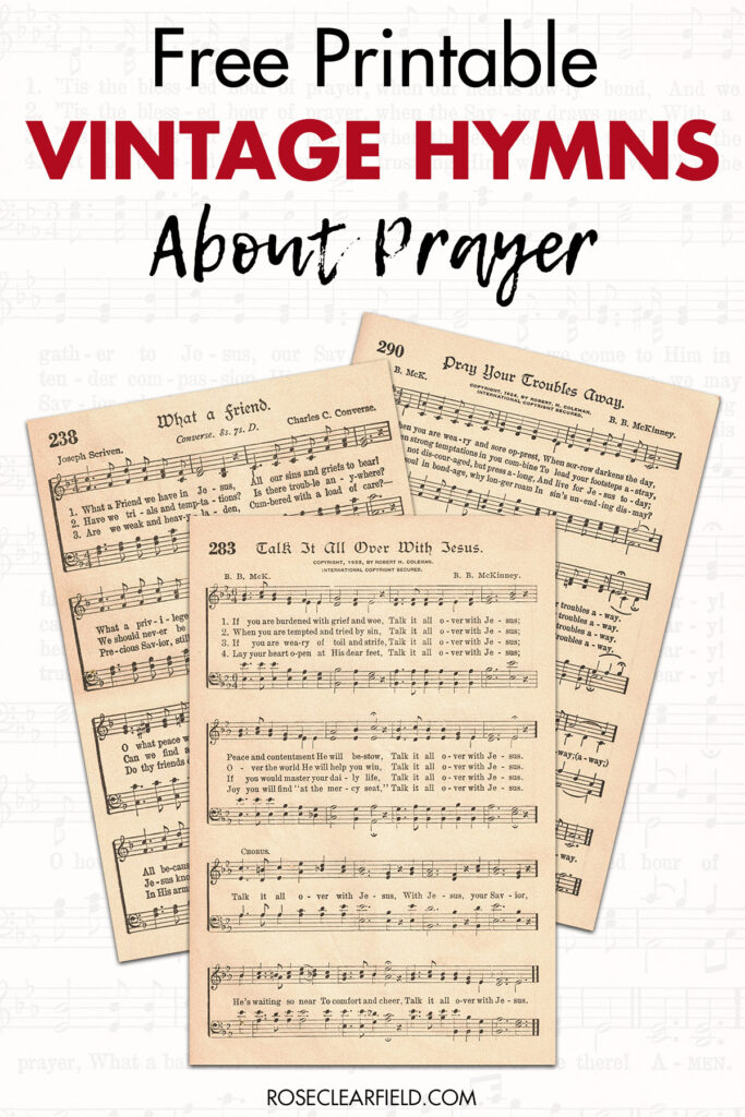 Free Printable Vintage Hymns About Prayer