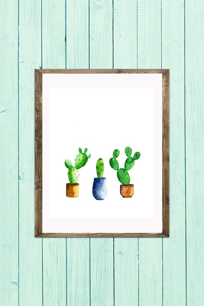 Group of Potted Cacti Wall Art
