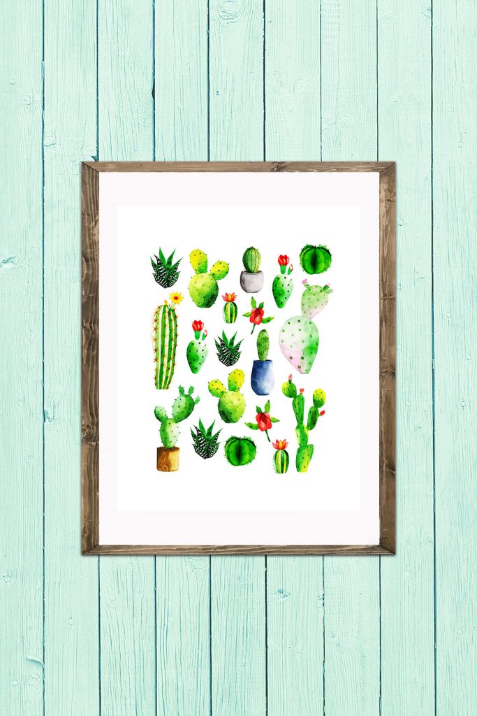 Large Group of Cacti Wall Art