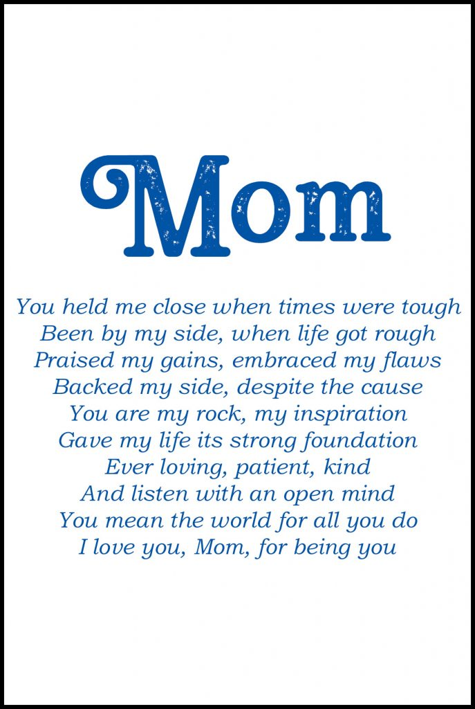 Mom Poem Greeting Card for Mother's Day