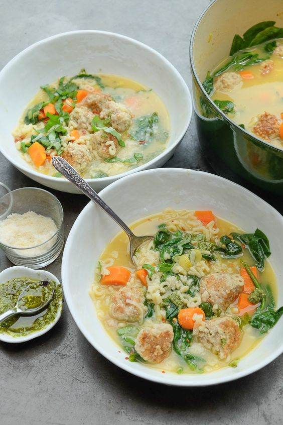 Spring Minestrone with Chicken Meatballs Shutterbean