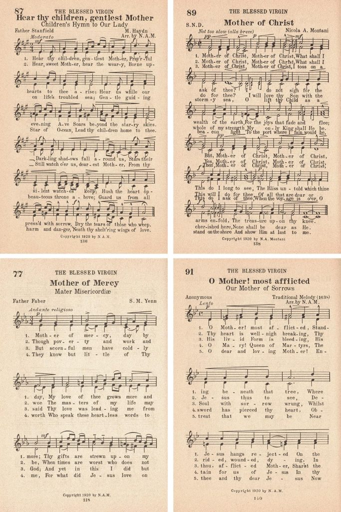 St. Gregory Hymnal Hymns About Mothers Collage