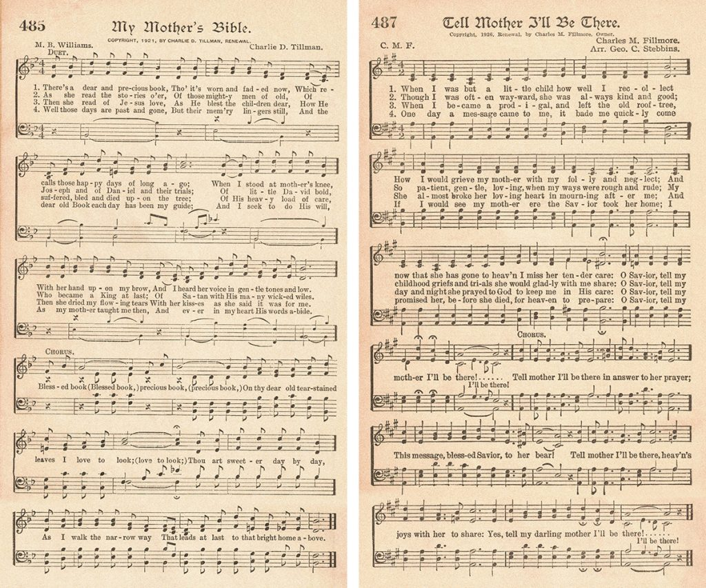 The American Hymnal Hymns About Mothers Collage