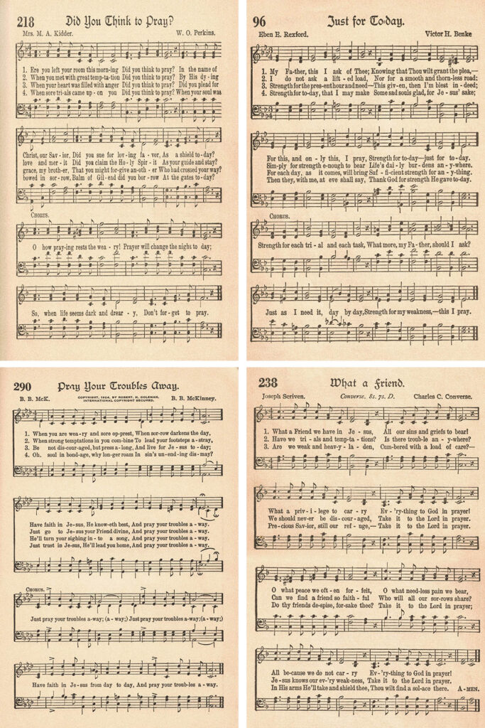 The American Hymnal Hymns About Prayer Collage