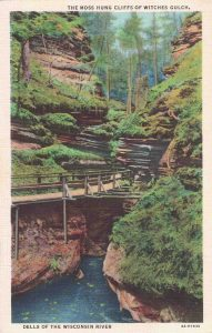 Vintage Postcard Wisconsin Dells The Moss Hung Cliffs of Witches Gulch