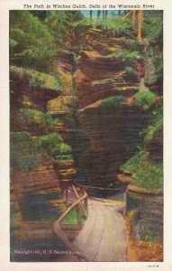 Vintage Postcard Wisconsin Dells The Path in Witches Gulch