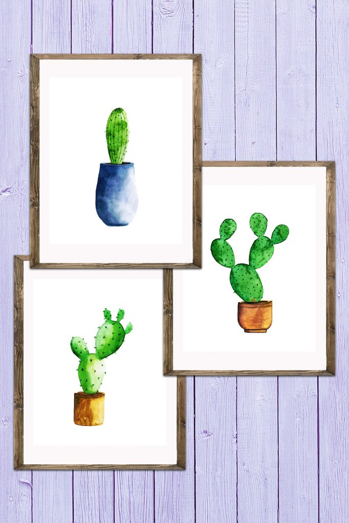 Watercolor Cactus Decor Set