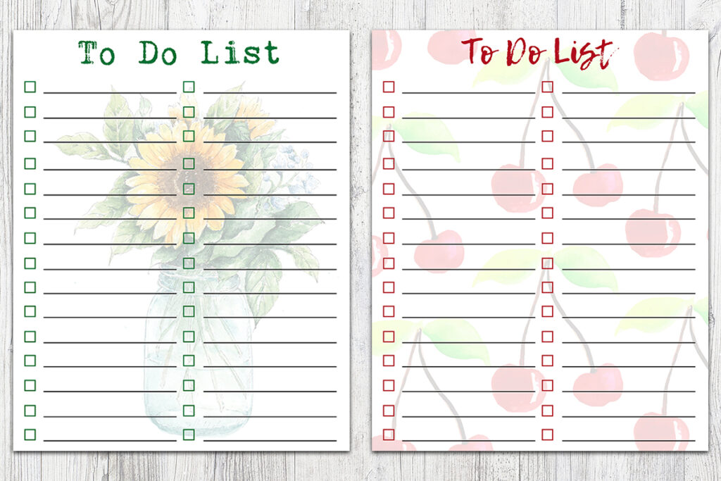 8x10 Summer Two-Column To-Do Lists