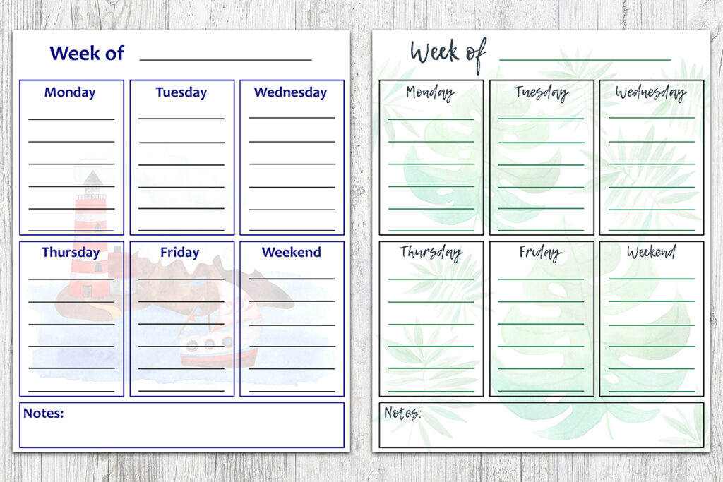 8x10 Summer Week To-Do Lists