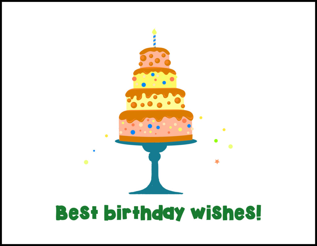 Cake Best Birthday Wishes A2 Greeting Card
