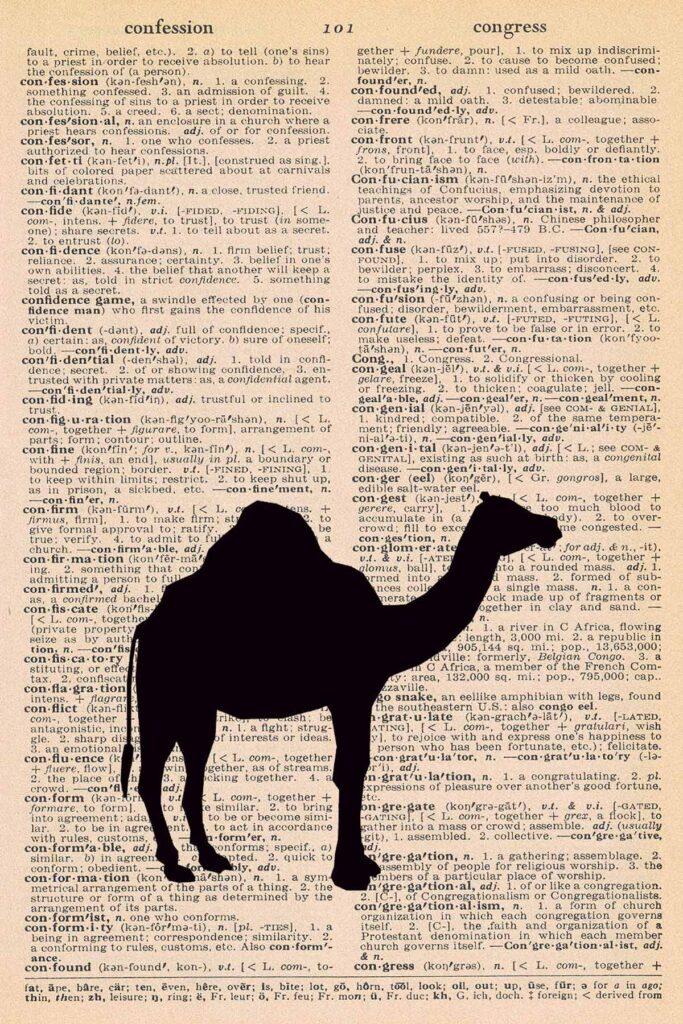 Camel Dictionary Page Printable Nursery Decor