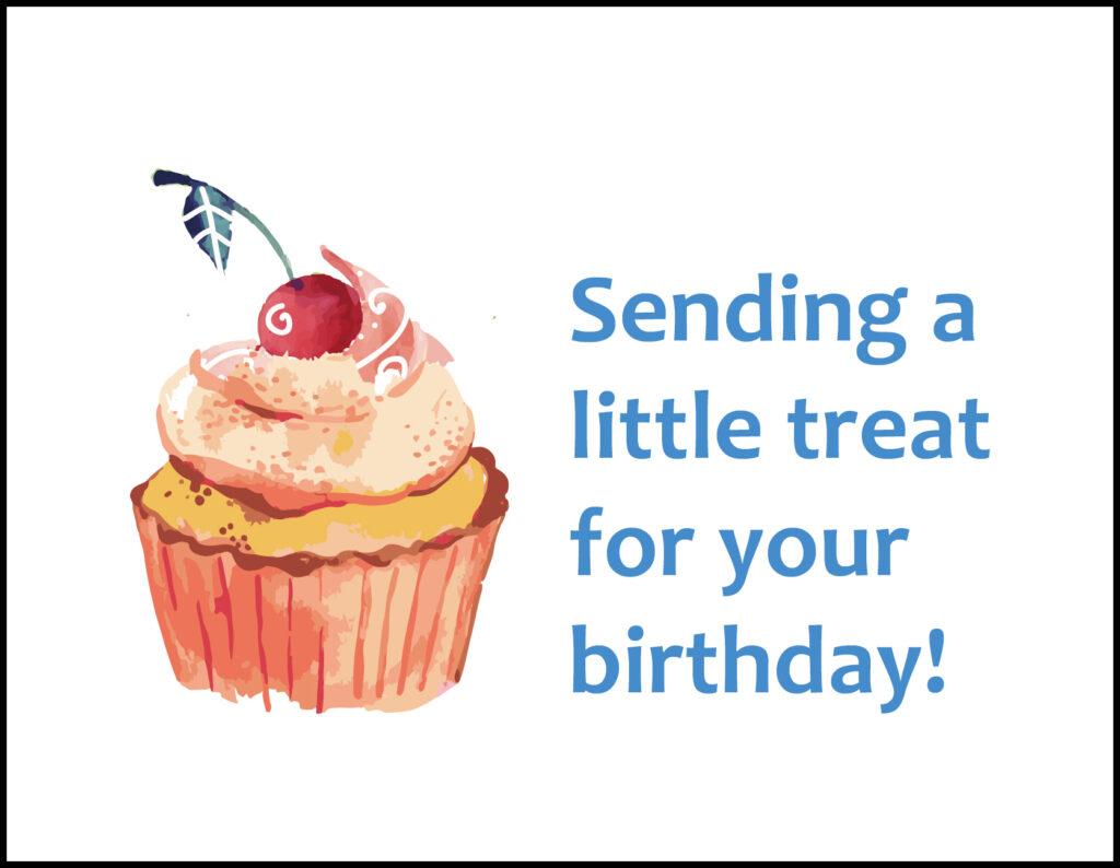 Cupcake Sending a Little Treat A2 Greeting Card