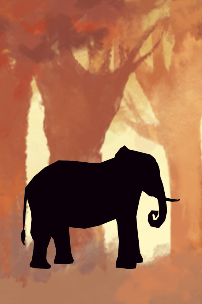 Elephant In Forest Animal Silhouette Nursery Decor