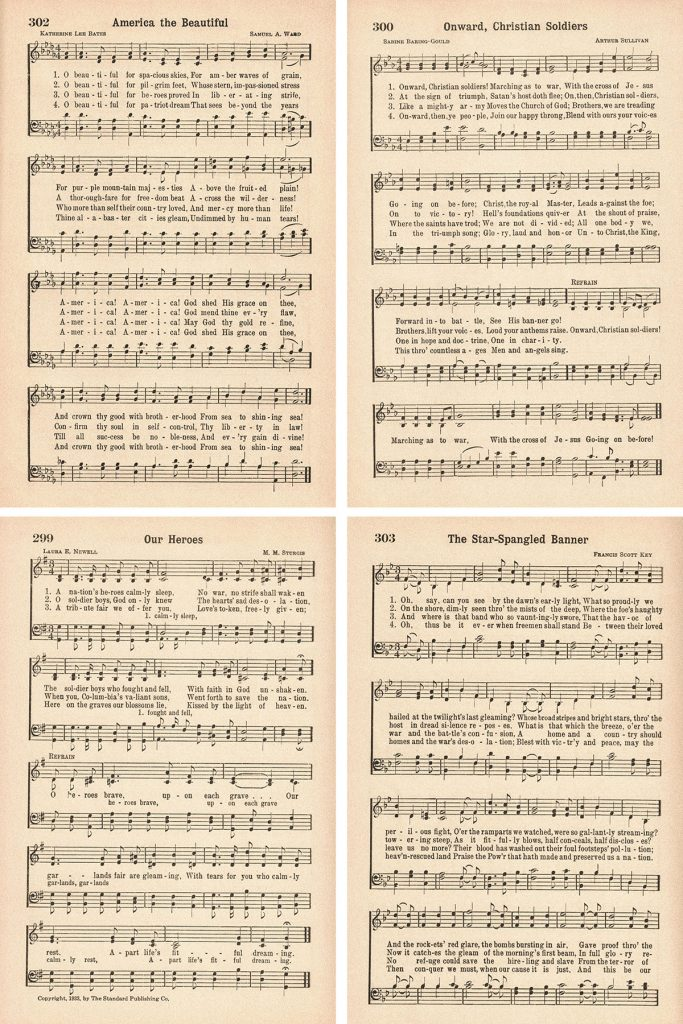 Favorite Hymns Patriotic Hymns Collage