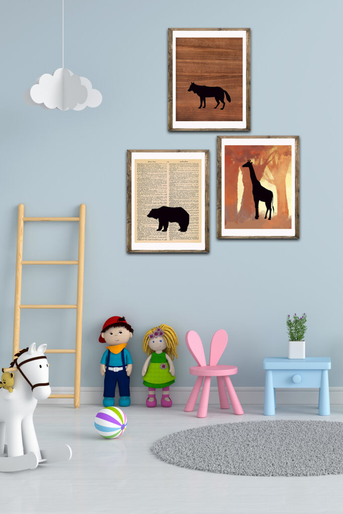 Free Printable Animal Silhouettes Nursery Decor Mock Up