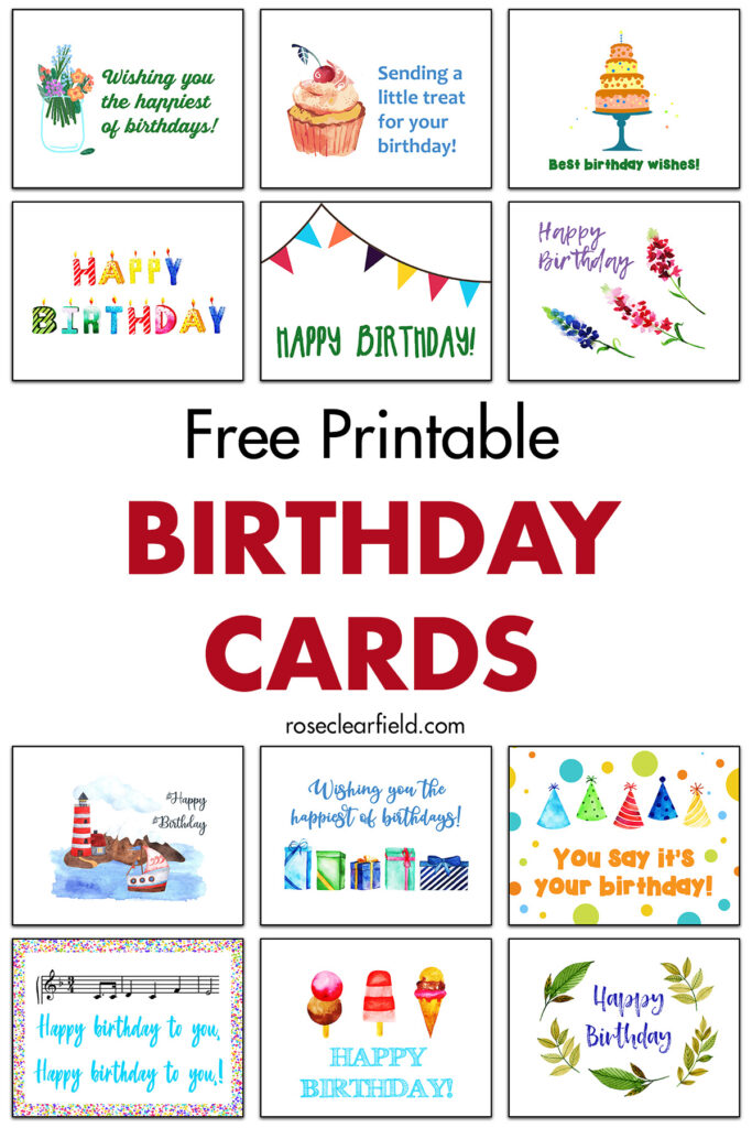 free printable birthday cards • rose clearfield