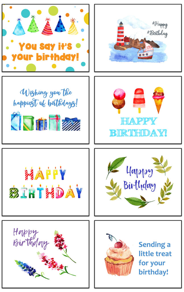 Free Printable Birthday Cards Collage