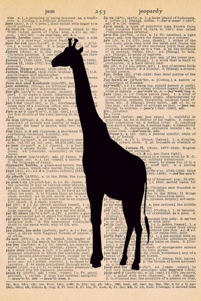 Giraffe Dictionary Page Printable Nursery Wall Art