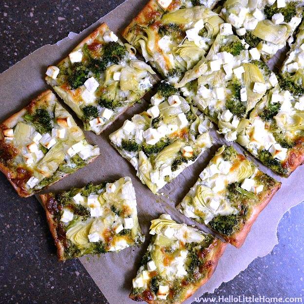 Green Pizza with Pesto Feta Artichokes and Broccoli Hello Little Home