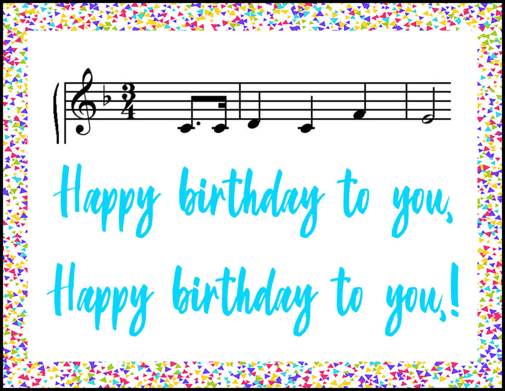 Happy Birthday Music Notes A2 Greeting Card