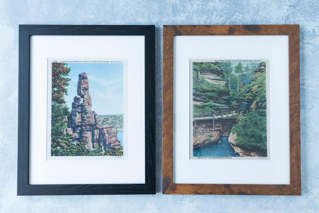 Vintage Postcard Prints 8x10 Framed