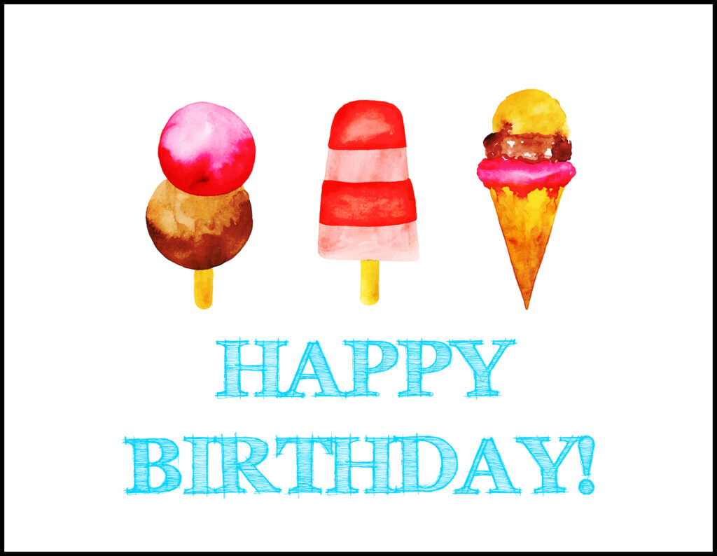 Ice Cream Happy Birthday A2 Greeting Card
