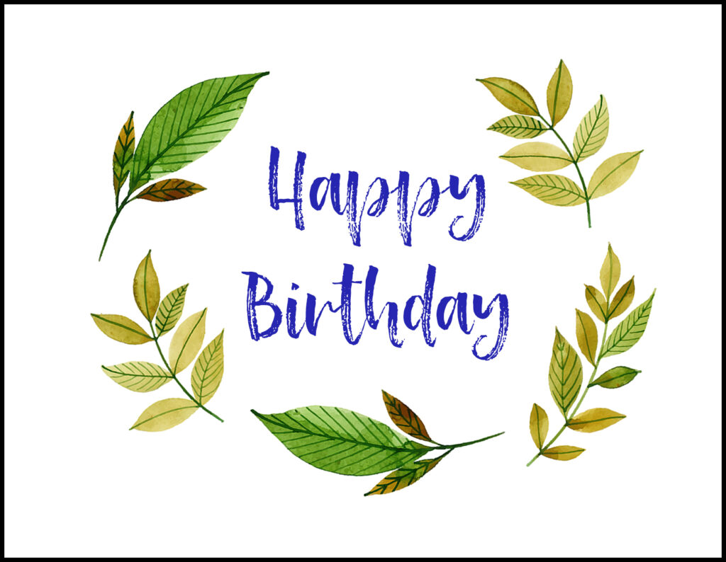 Leaves Happy Birthday A2 Greeting Card