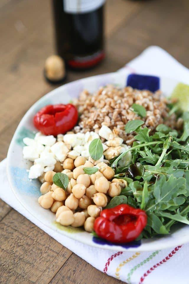 Mediterranean Farro Salad with Arugula and Chickpeas Aggie's Kitchen