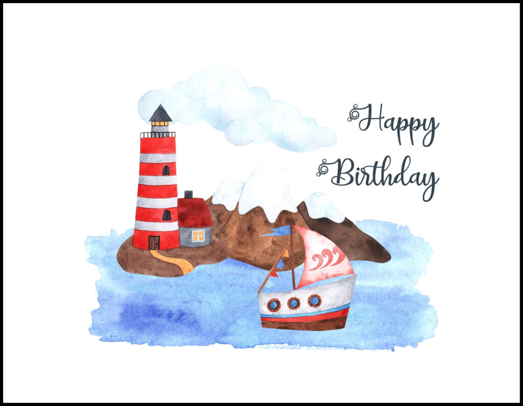 Nautical Happy Birthday A2 Greeting Card
