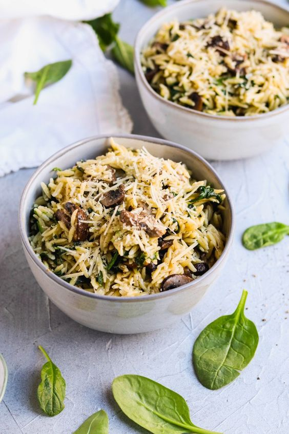 Parmesan Orzo with Mushrooms and Spinach For the Love of Gourmet