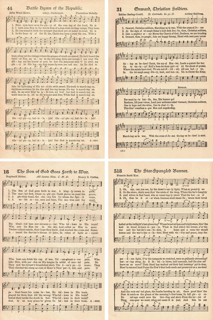 The American Hymnal Patriotic Hymns Collage