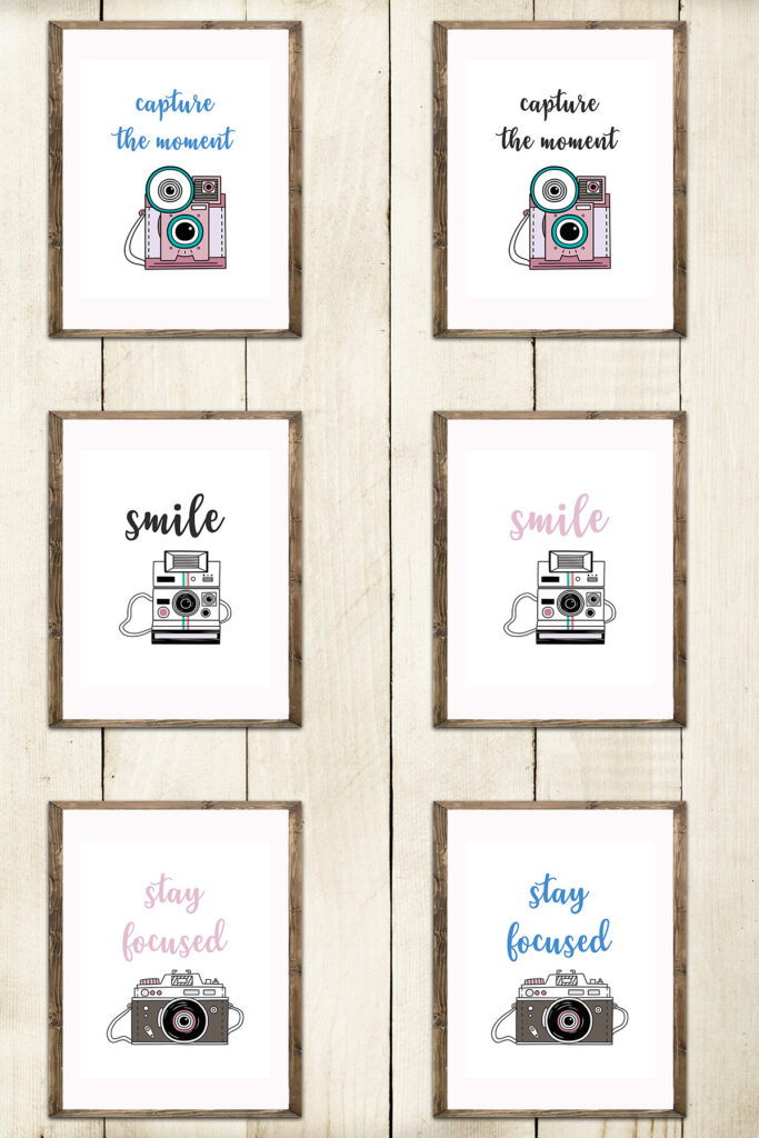 Vintage Camera Illustrations Words and Phrases Collage