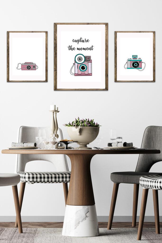 Vintage Camera Illustrations in Dining Room