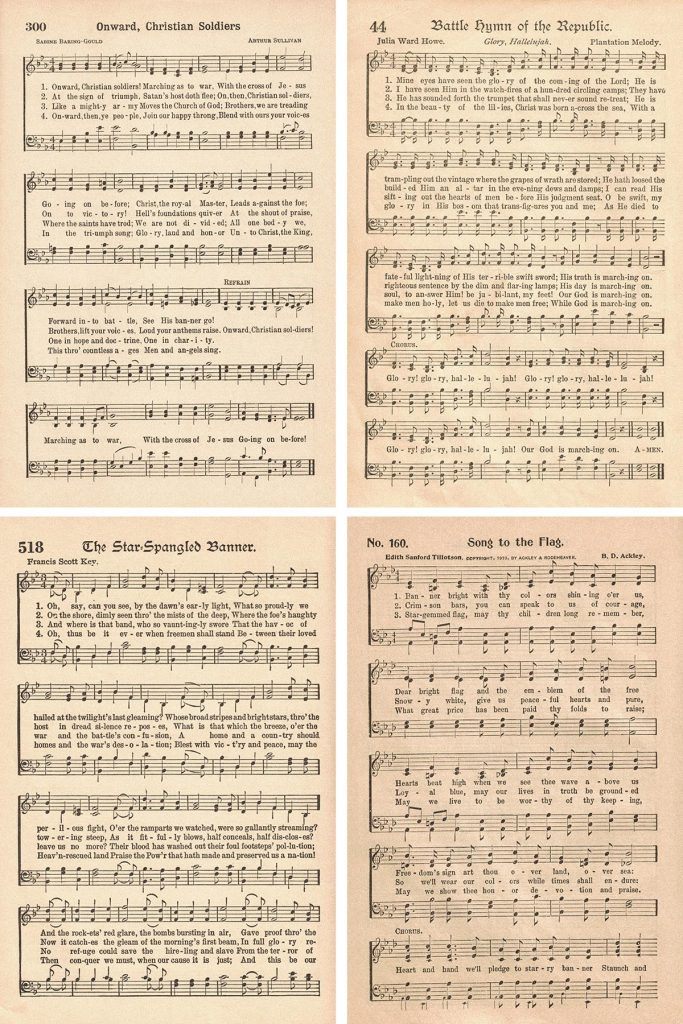 Vintage Patriotic Hymns Collage