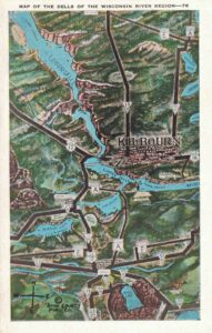 Vintage Postcard Map of the Dells of the Wisconsin River Region