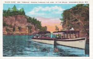 Vintage Postcard Wisconsin Dells Black Hawk and Virginia Passing Through the Jaws