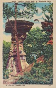 Vintage Postcard Wisconsin Dells Dog Jumping Stand Rock