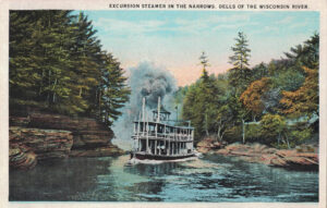 Vintage Postcard Wisconsin Dells Excursion Steamer in the Narrows
