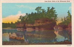 Vintage Postcard Wisconsin Dells Lone Rock