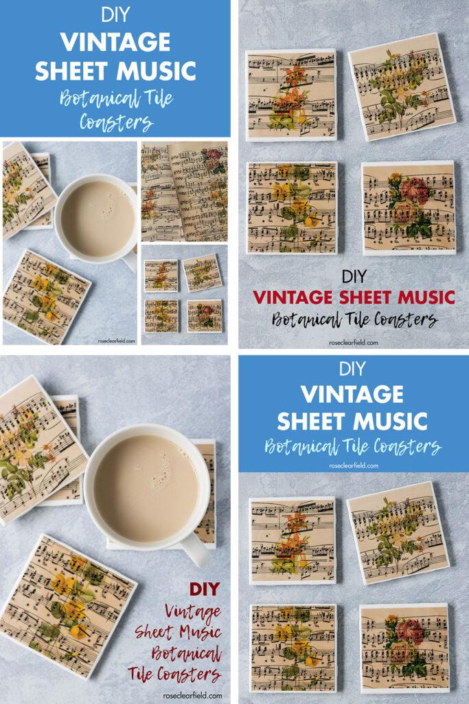 Vintage Sheet Music Botanical Tile Coasters Pin Collage