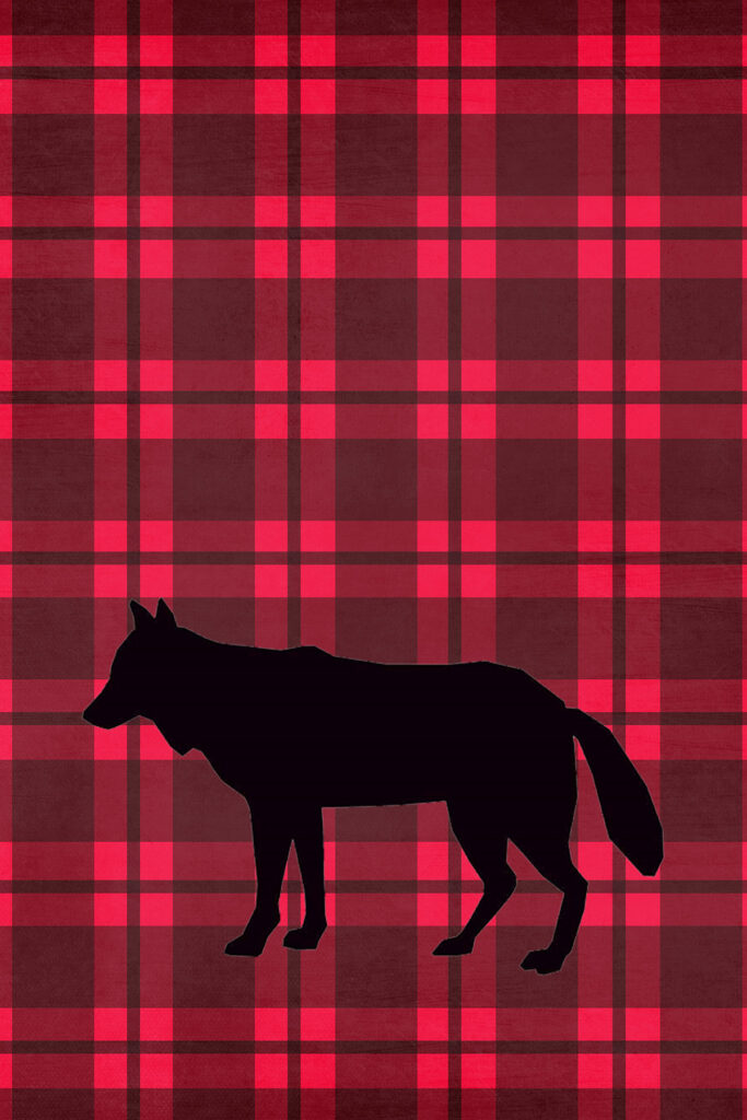 Wolf Lumberjack Plaid Printable Nursery Wall Art