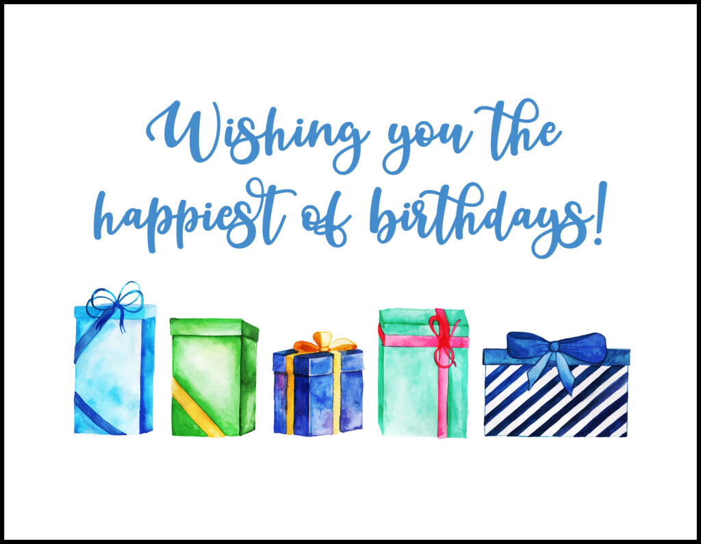 Wrapped Presents Happiest of Birthdays A2 Greeting Card