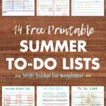 14 Free Printable Summer To-Do Lists