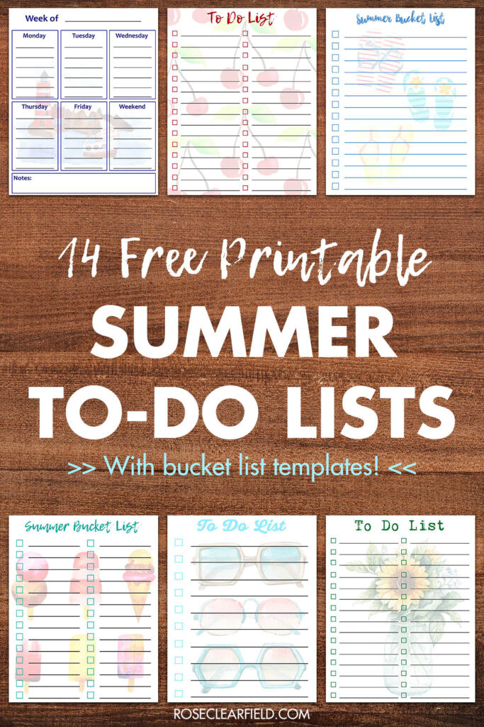 14 Free Printable Summer To-Do Lists