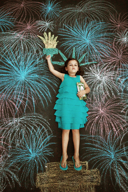 4th of July Statue of Liberty with Fireworks Sidewalk Chalk Art The Burgh Baby