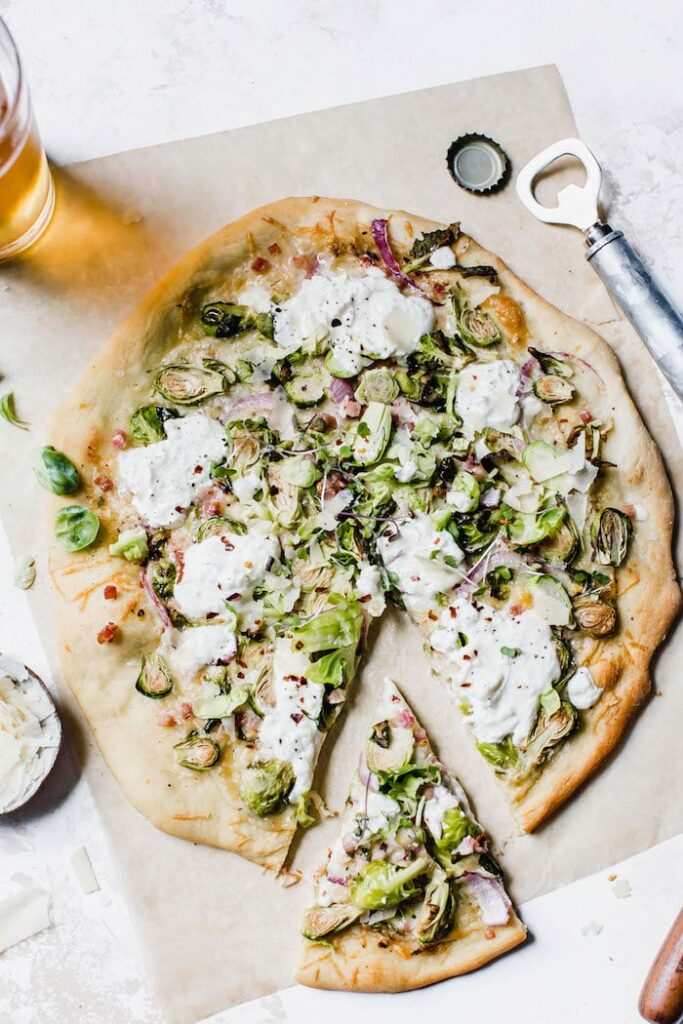 Burrata Brussels Sprouts Pizza The Almond Eater