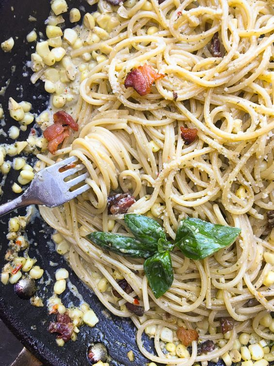 Creamy Corn Basil Pasta Shutterbean