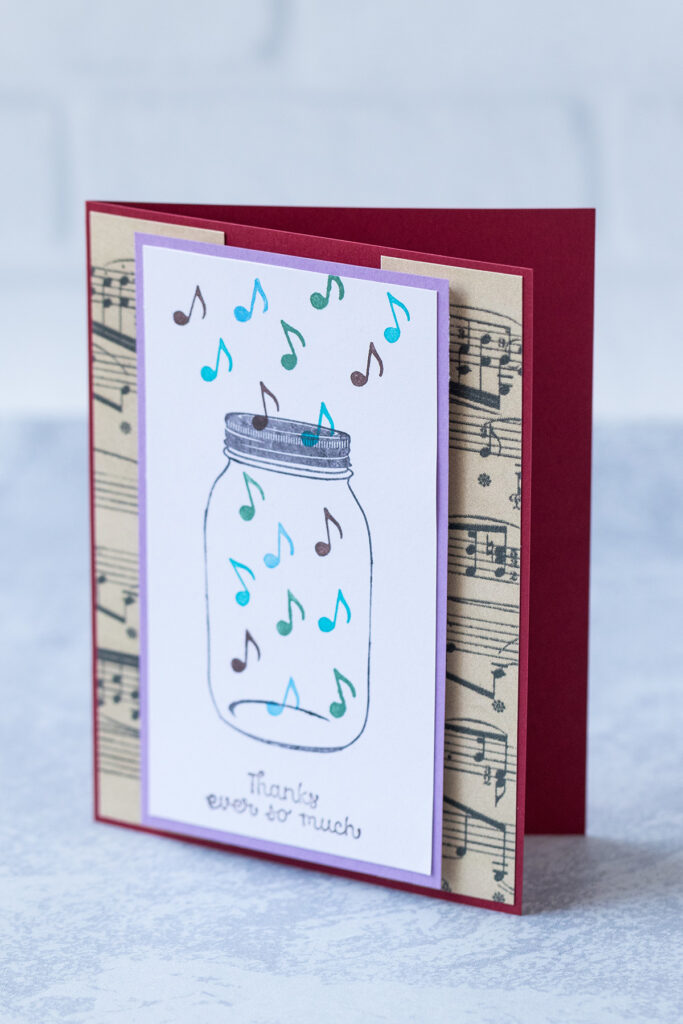 Mason Jar With Music Notes Thank You Card