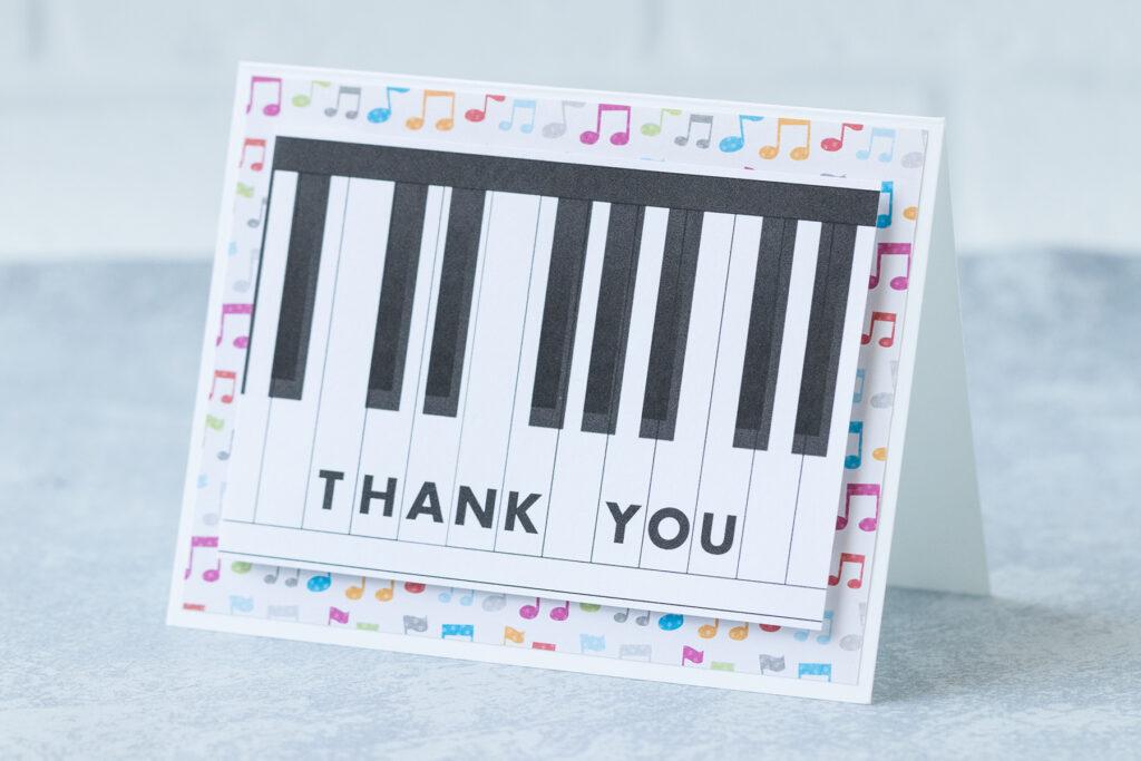 DIY Piano Keys Thank You Music Card