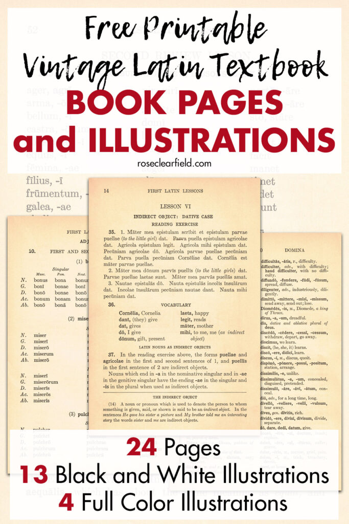 Free Printable Vintage Latin Textbook Book Pages and Illustrations